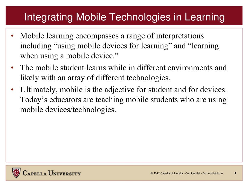 PPT - Integrating Mobile Learning Technologies To Positively