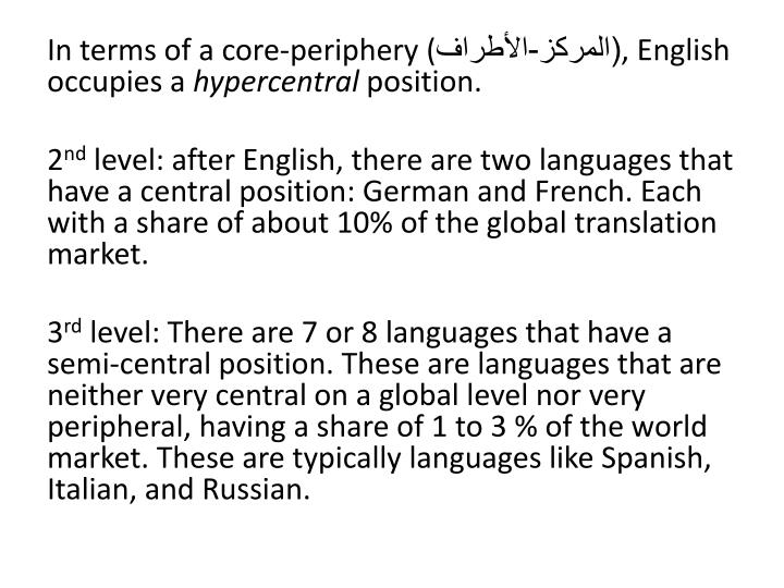 Ppt  Issues And Problems In Translation Powerpoint Presentation  In Terms Of A Coreperiphery