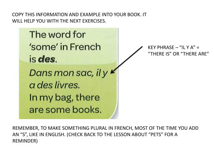 COPY THIS INFORMATION AND EXAMPLE INTO YOUR BOOK. IT WILL HELP YOU WITH THE NEXT EXERCISES.