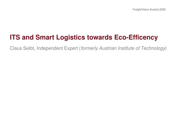 its and smart logistics towards eco efficency n.