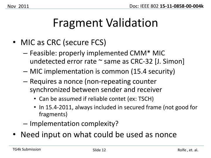 MIC as CRC (secure FCS)