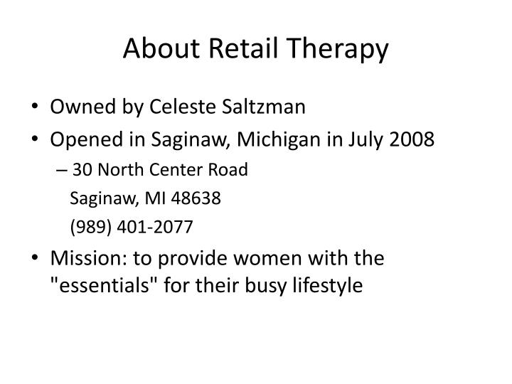 about retail therapy n.