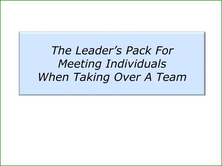 The Leader's Pack For