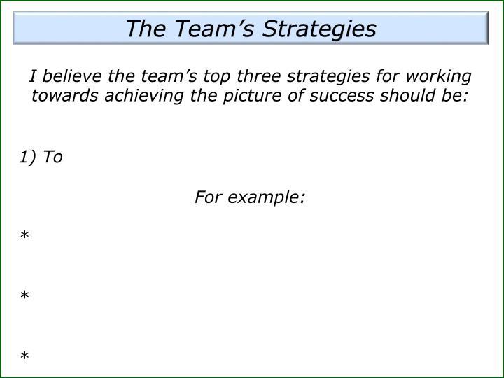 The Team's Strategies