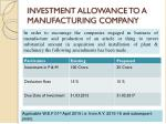 investment allowance to a manufacturing company