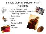 sample clubs extracurricular activities