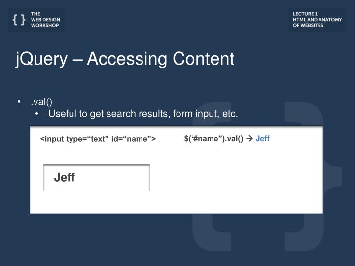jQuery – Accessing Content