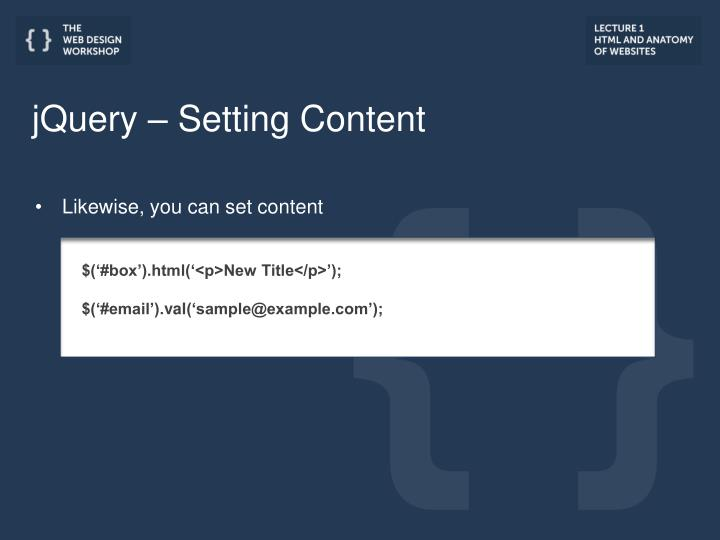 jQuery – Setting Content