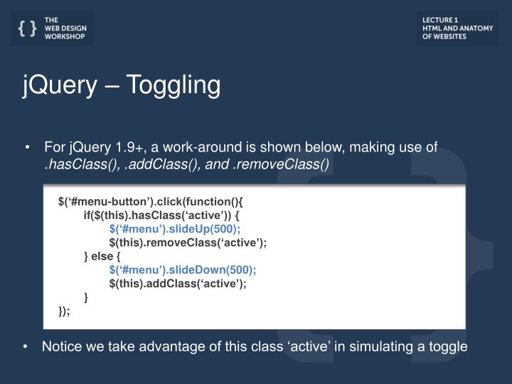 jQuery – Toggling