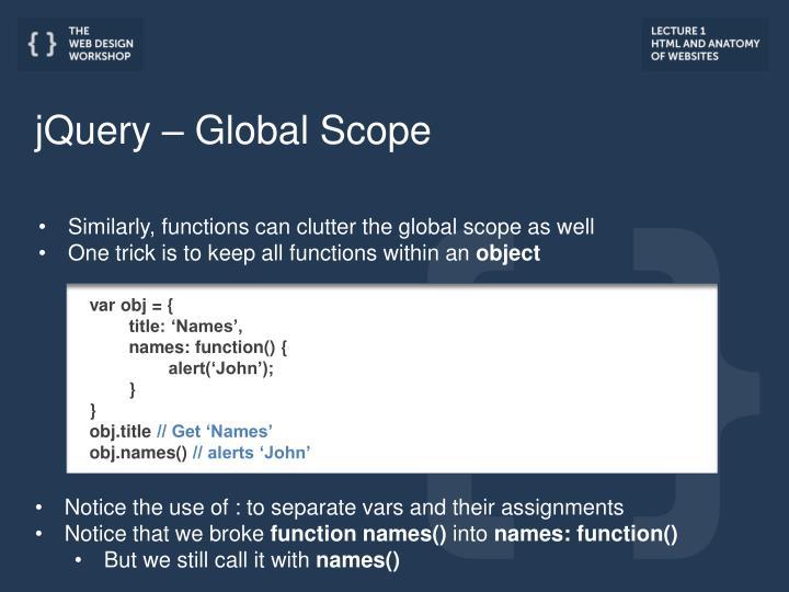 jQuery – Global Scope