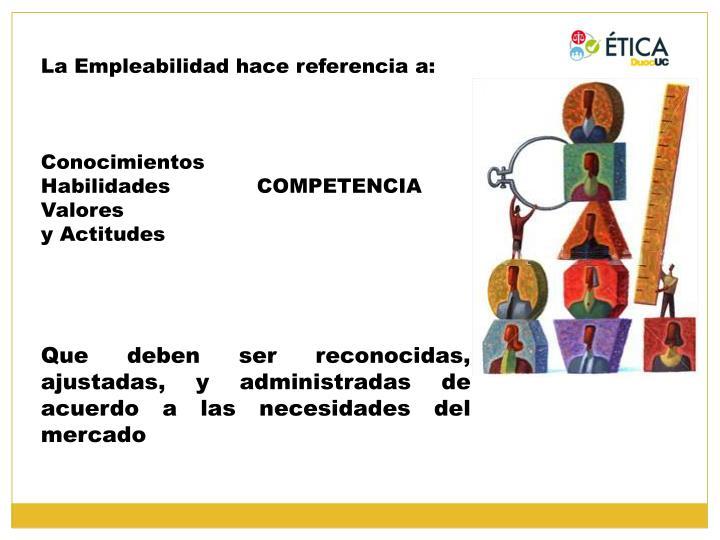 La Empleabilidad hace referencia a: