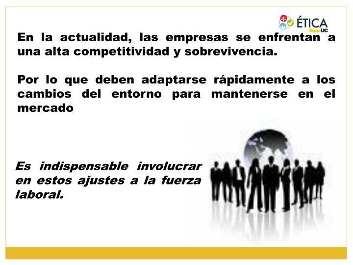En la actualidad, las empresas se enfrentan a una alta competitividad y sobrevivencia.