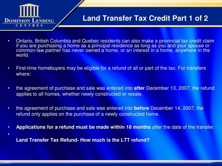 Land Transfer Tax Credit Part 1 of 2
