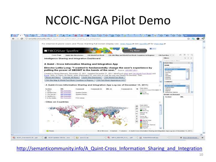 NCOIC-NGA Pilot Demo