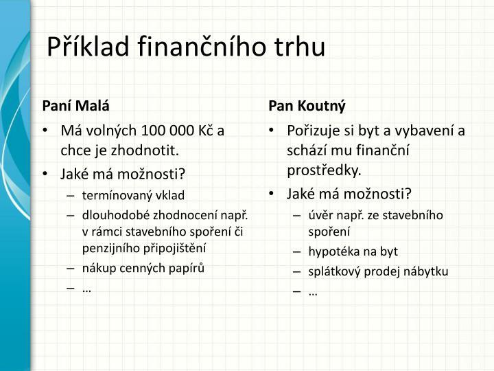 Příklad finančního trhu