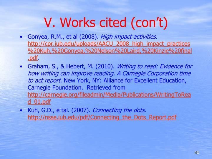 V. Works cited (