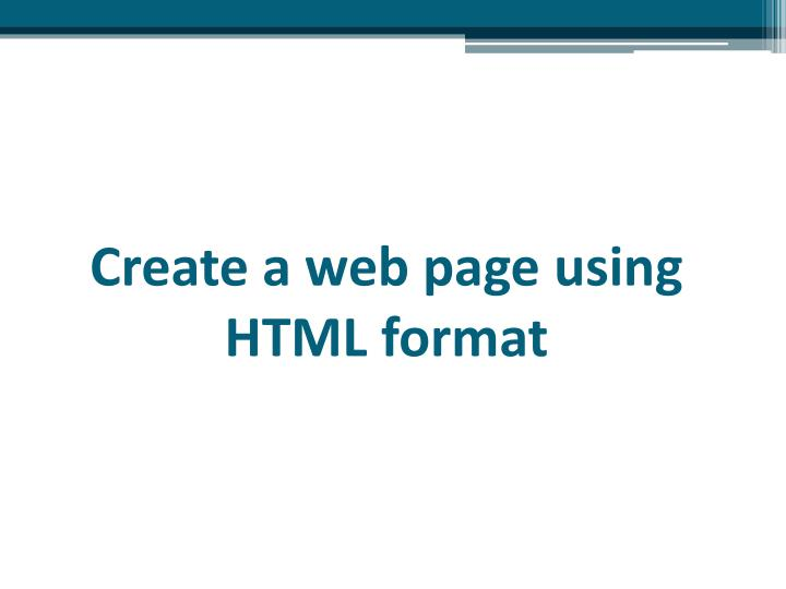 Create a web page using