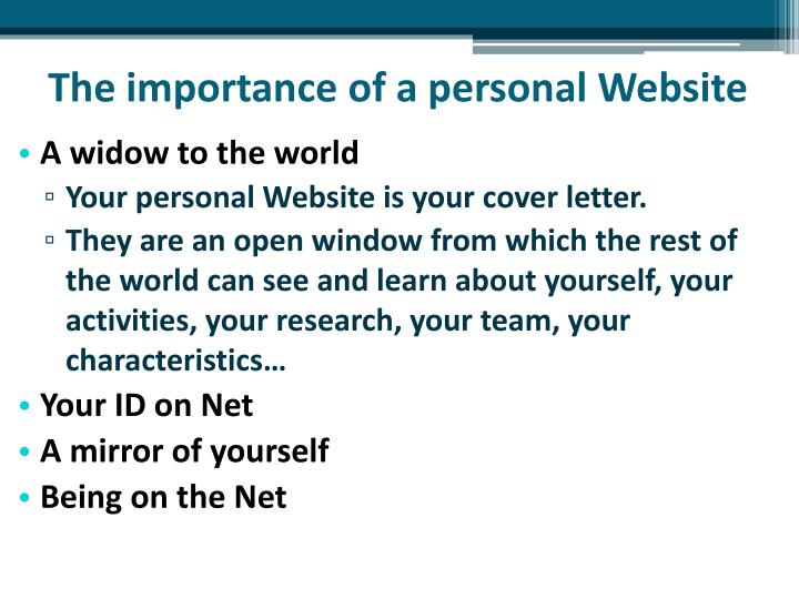 The importance of a personal Website