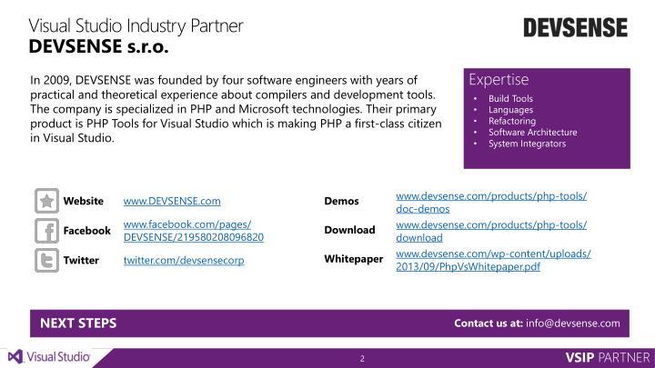 Visual studio industry partner devsense s r o