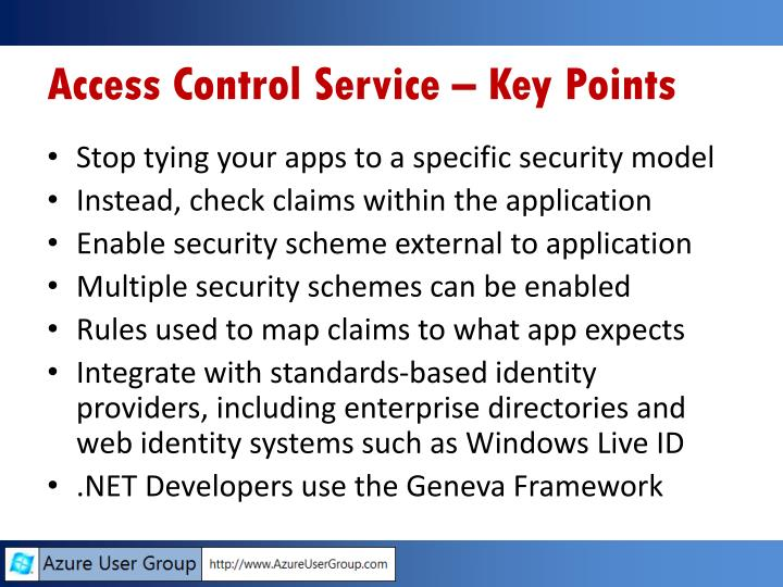 Access Control Service – Key Points