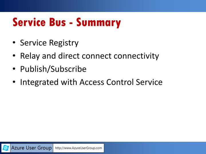 Service Bus - Summary