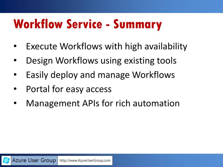 Workflow Service - Summary