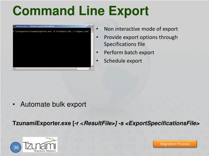 Command Line Export