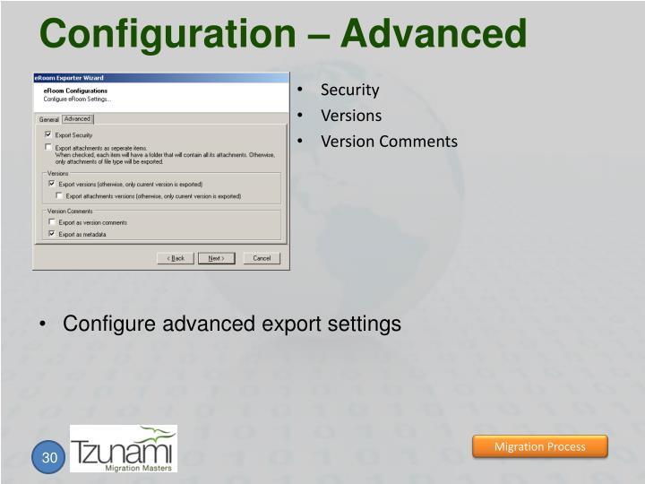 Configuration – Advanced