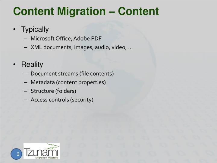 Content migration content