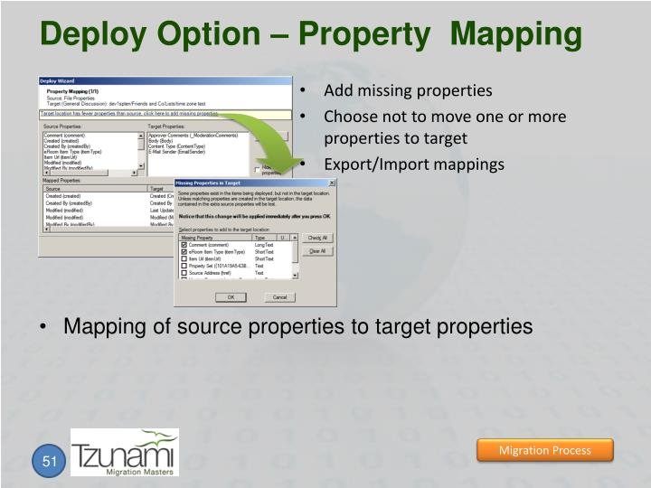 Deploy Option – Property  Mapping