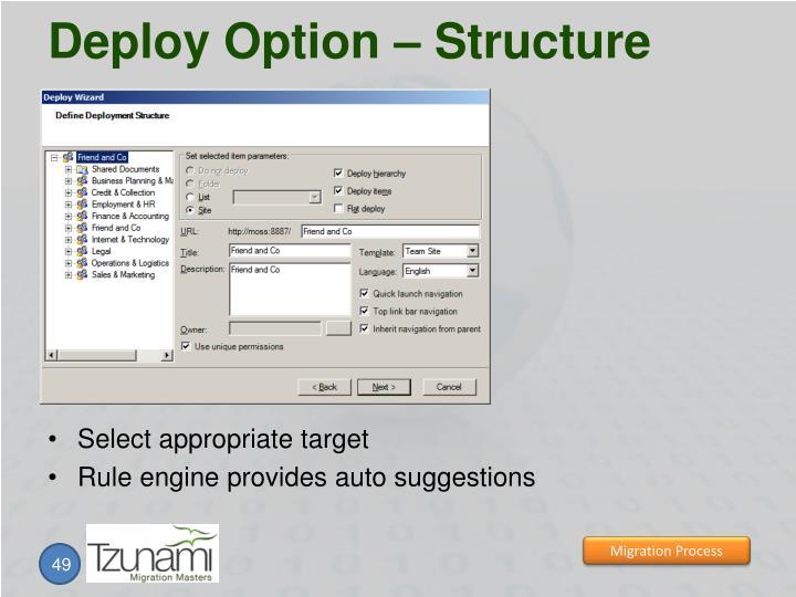 Deploy Option – Structure