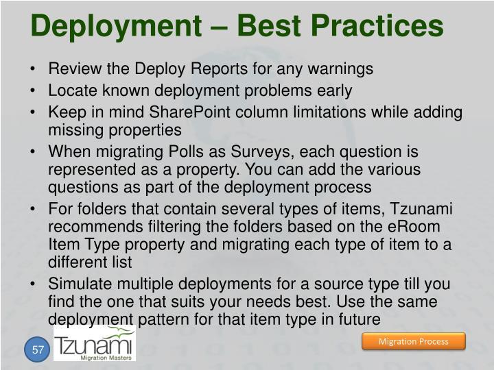 Deployment – Best Practices