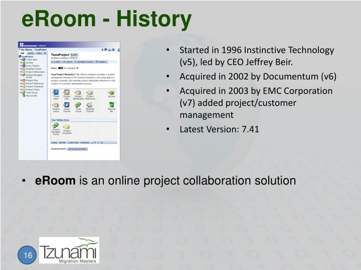 eRoom - History