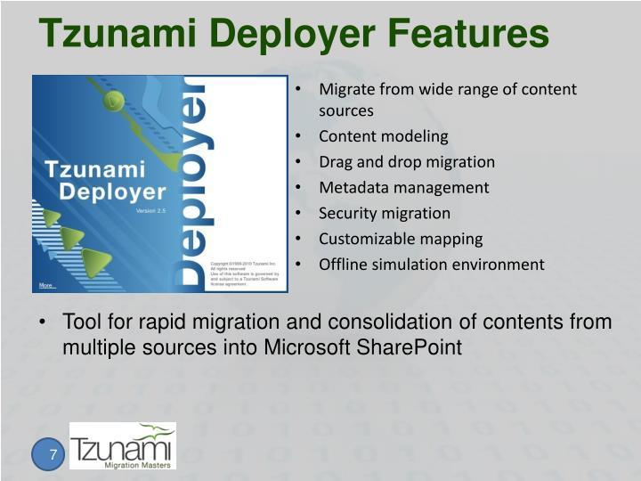 Tzunami Deployer Features