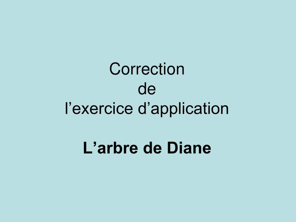 PPT - Correction de l'exercice d'application L'arbre de ...
