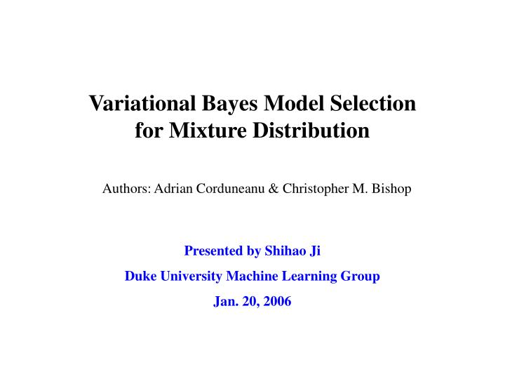 variational bayes model selection for mixture distribution
