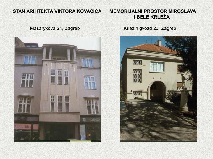 STAN ARHITEKTA VIKTORA KOVAČIĆA      MEMORIJALNI PROSTOR MIROSLAVA