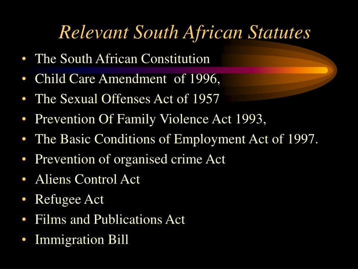 Relevant South African Statutes