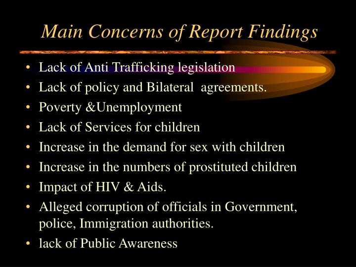 Main Concerns of Report Findings