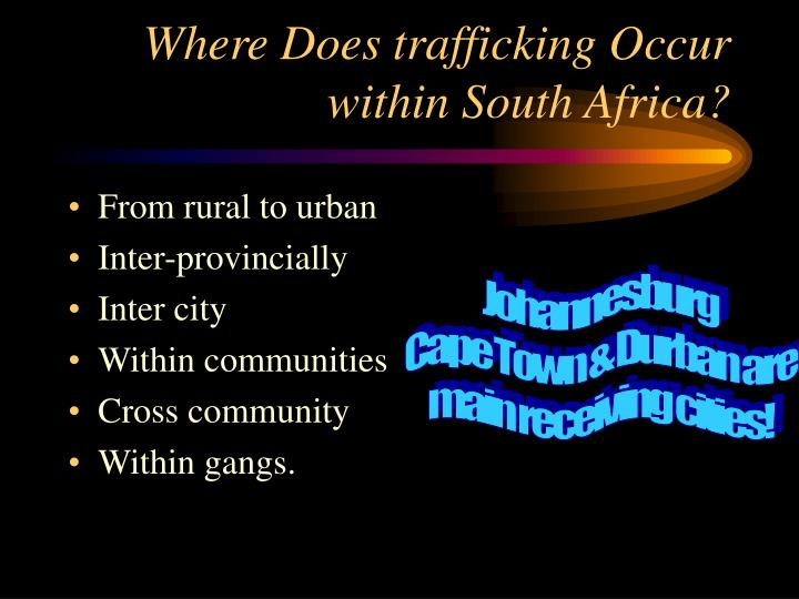 Where Does trafficking Occur within South Africa?