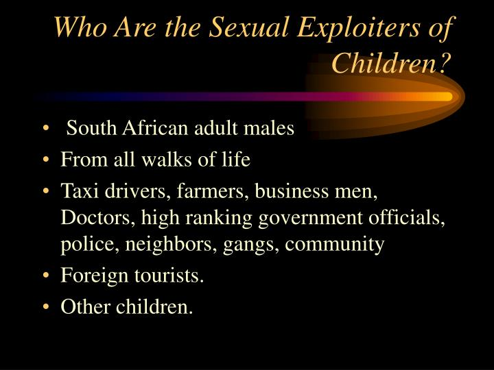 Who Are the Sexual Exploiters of Children?