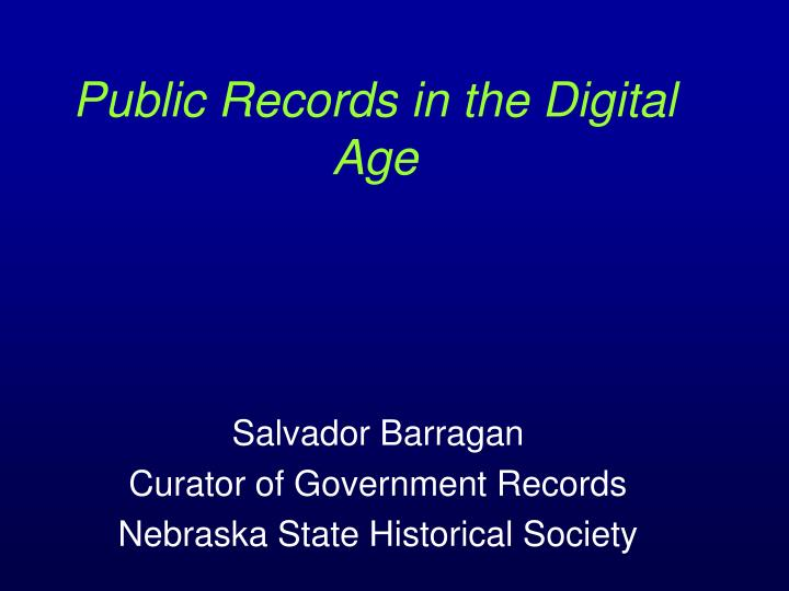 public records in the digital age n.
