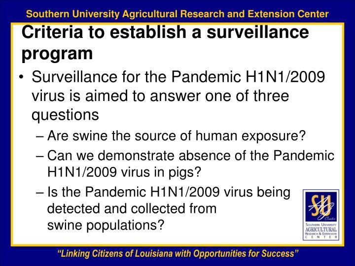 Criteria to establish a surveillance program
