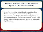 functions performed by the global financial system and the financial markets1
