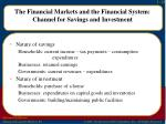 the financial markets and the financial system channel for savings and investment