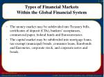 types of financial markets within the global financial system1