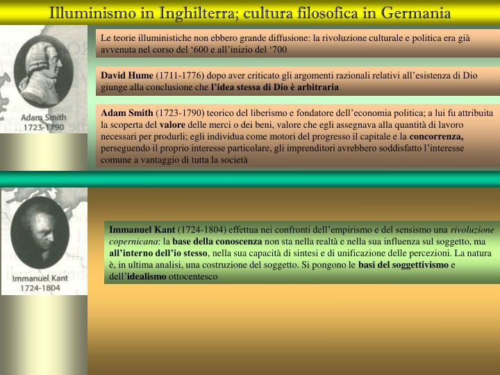 Illuminismo in Inghilterra; cultura filosofica in Germania