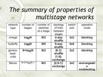 the summary of properties of multistage networks