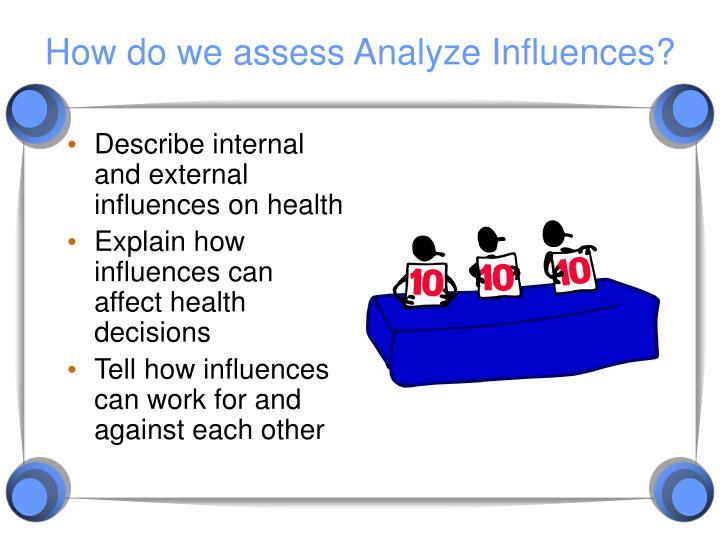 How do we assess Analyze Influences?