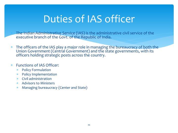 Duties of IAS officer